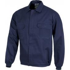 Blusão de algodão com gola tipo camiseiro e fecho de correr de metal oculto.