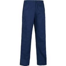 Calça direita de algodão com elástico na cintura