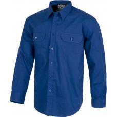 Camisa de algodão com gola clássica e fecho central de botões