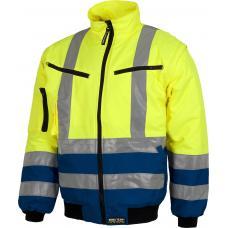 Blusão de motorista acolchoado e impermeável em tecido Oxford, de alta visibilidade, com mangas desmontável e fitas refletoras