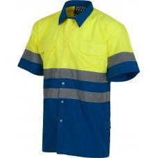 Camisa de alta visibilidade de manga curta com fitas refletoras