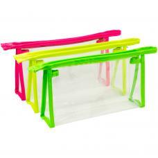 Nécessaire em PVC transparente com detalhes neon