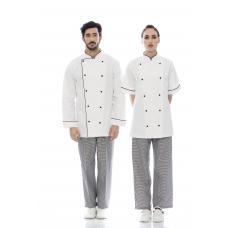 Jaleca cozinheiro em sarja 100% algodão de manga comprida