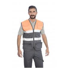 Colete em sarja poliéster-algodão alta visibilidade c/fitas refletoras