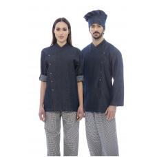 Jaleca cozinheiro em ganga 100% algodão