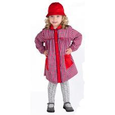 Bata menina em xadrez poliéster-algodão