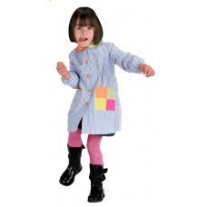 Bata menina em risca poliéster-algodão