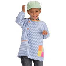 Bata rapaz em risca poliéster-algodão