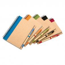 Caderno com 70 folhas de papel reciclado e esferográfica - Sonora Plus