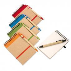 Caderno de bolso com 70 páginas de papel liso reciclado e uma esferográfica - Sonora