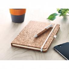 Bloco de notas A5 com capa de cortiça com papel pautado incluindo caneta - SUBER SET