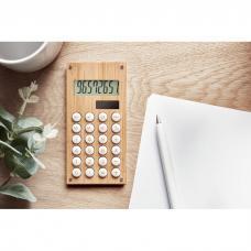 Calculadora de 8 dígitos com dupla potência em ABS com caixa de madeira de bambu - CALCUBAM