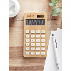 Calculadora de 12 dígitos com dupla potência em ABS com caixa de madeira de bambu - CALCUBIM