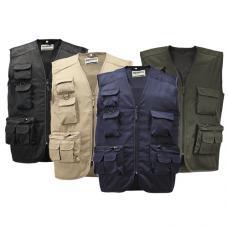 Colete multi-bolsos em sarja de algodão, fecho em nylon